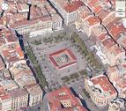 Pamplona, vista a 45º desde el aire en Google maps