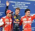 Vettel logra la 'pole' bajo el agua, por delante de Massa y Alonso