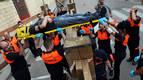 Protección Civil hace un simulacro para evacuar a un herido del encierro