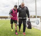 José García se retira del entrenamiento con un golpe en el gemelo izquierdo
