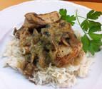 Pavo strogonoff con arroz blanco