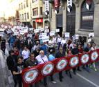 Protesta en Tafalla contra el TAV y el cierre de los servicios de la estación