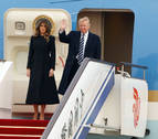Donald Trump llega a Pekín para su primera visita de Estado a China
