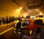 Simulacro de accidente en el túnel de Liédena de la Autovía del Pirineo