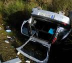Cuatro jóvenes, heridos en un accidente antes del peaje de Zuasti en la AP-15