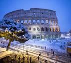Roma se tiñe de blanco por la nieve, algo que no pasaba desde hacía seis años
