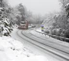 La nieve, protagonista en la mañana de este miércoles en la Comunidad foral