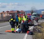 Herido grave un ciclista en la curva de Arre