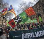 Celebración en Pamplona del Aberri Eguna reclamando