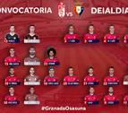 Diego Martínez desplaza a Granada a los 19 jugadores disponibles