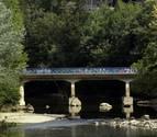 El bajo nivel del Arga deja a la vista el antiguo puente del Plazaola