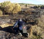 Policía Foral inspecciona el terreno quemado en la Estanquilla de Corella