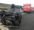 Un herido en un accidente de tráfico en la autovía del Pirineo, a la altura de Zulueta