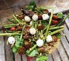 Ensalada de trigueros con polvo de pistachos