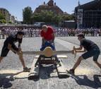 Rapidez, orgullo y centésimas de segundo en la tercera jornada de deporte rural en Pamplona