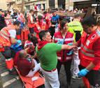 Parte de heridos del séptimo encierro: La Palmosilla debuta en Pamplona con cuatro heridos y sin cornadas