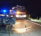 Una herida grave y tres heridos leves en una colisión frontal en Garínoain