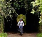 Plazaola, vía verde bajo árboles para pasear o pedalear a salvo del calor