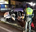 Tres heridos en un accidente por una salida de vía en Andosilla