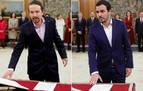 Iglesias y Garzón prometen su cargo con un pin que simboliza la lucha antifascista