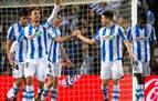Merino y Monreal marcan en la goleada de la Real Sociedad al Valencia