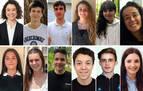 Algunos de los alumnos con mejores calificaciones de la EVAU 2020 en Navarra