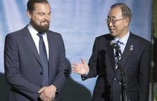 Leonardo DiCaprio y Ban Ki-moon.