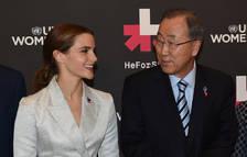 Emma Watson, junto al secretario general de la ONU, Ban Ki-moon