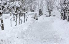 Un coche queda entre la nieve en Roncesvalles.