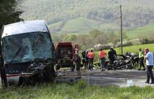 Dos muertos en una colisión frontal en la N-121-A, en Lantz