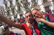 Seguidores de Osasuna, antes del partido en Soria