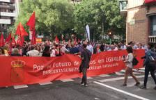 La cabeza de la marcha, preparada ya con una pancarta con el lema.