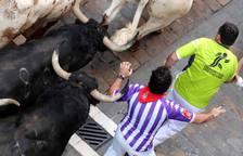 Imágenes del cuarto encierro de los Sanfermines 2018, con toros de la ganadería Fuente Ymbro.