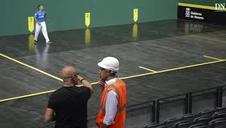 La cancha del Navarra Arena, lista para la final del Masters Codere