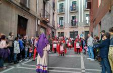 Imagen del grupo de centuriones romanos, que abre la procesión del Santo Entierro de Pamplona.
