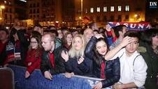 La afición de Osasuna celebra en Pamplona el ascenso