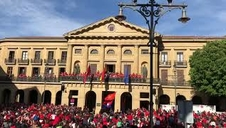 Celebración de los jugadores de Osasuna en el Palacio de Navarra