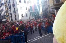 Llegada de los jugadores a la Plaza del Ayuntamiento.