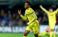Samuel Chukwueze celebra un gol con el Villarreal.