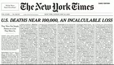 Vídeo: El New York Times recoge en su portada el nombre de las víctimas del Covid-19 en EEUU