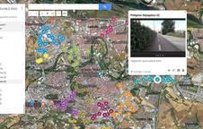 Imagen del visor de geolocalización de las infraestructuras ciclables de Pamplona.