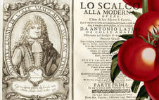 'Lo scalco alla moderna' 1692 (CC PD) y grabado botánico de tomates. r. c