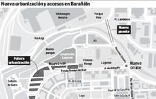 Mapa de la nueva urbanización y los accesos en Barañáin.