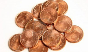 Monedas de un céntimo de euro.