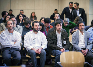 Los cuatro miembros de la plataforma Mugitu, durante el juicio que se sigue contra ellos en la Audiencia Nacional.