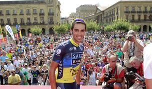 Alberto Contador, en la salida de la segunda etapa en 2012