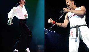 Michael Jackson y Freddie Mercury, en concierto