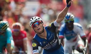 Meersman celebra su victoria de etapa.