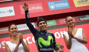 Nairo Quintana, en el podio de la Vuelta.