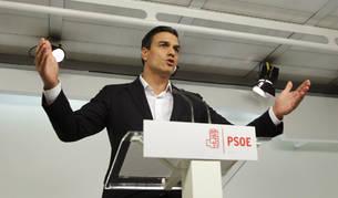 El secretario general del PSOE, Pedro Sánchez en su intervención después de la dimisión de 17 miembros de la Ejecutiva.
